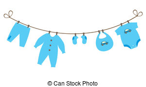 Baby clothes hanging on clothes hanger and baby toys. Baby clothes.