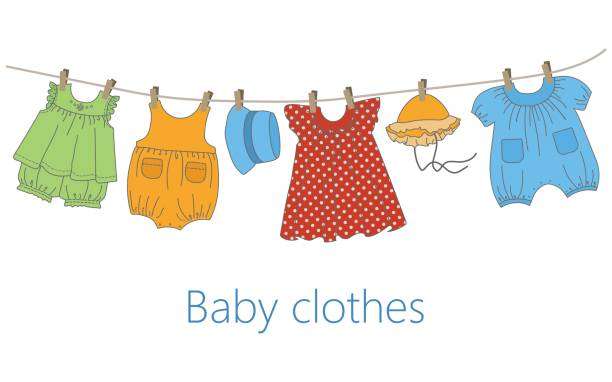 Baby Clothes Hanging Clothes Line Illustrations, Royalty.