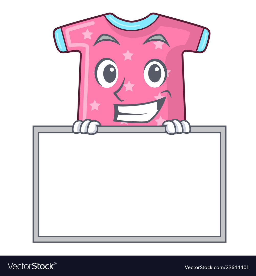 Grinning with board character baby clothes hanging.