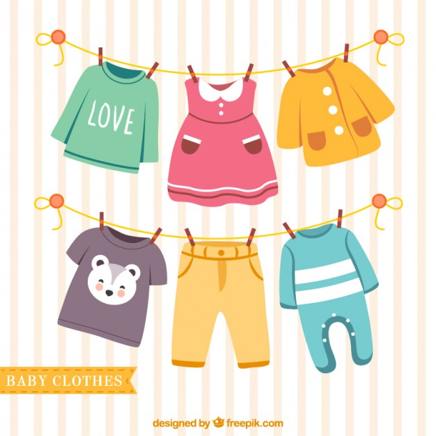 Nice baby clothes hanging on a rope Vector.