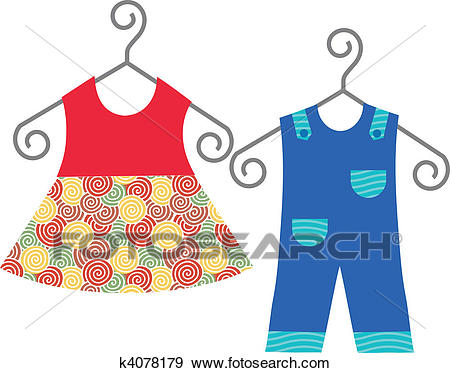 Baby clothes hanging on clothes hanger Clip Art.