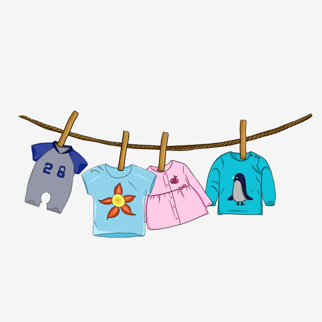 Cute Baby Clothes Hanging On The Rope, Baby, Fashion, Cute PNG.