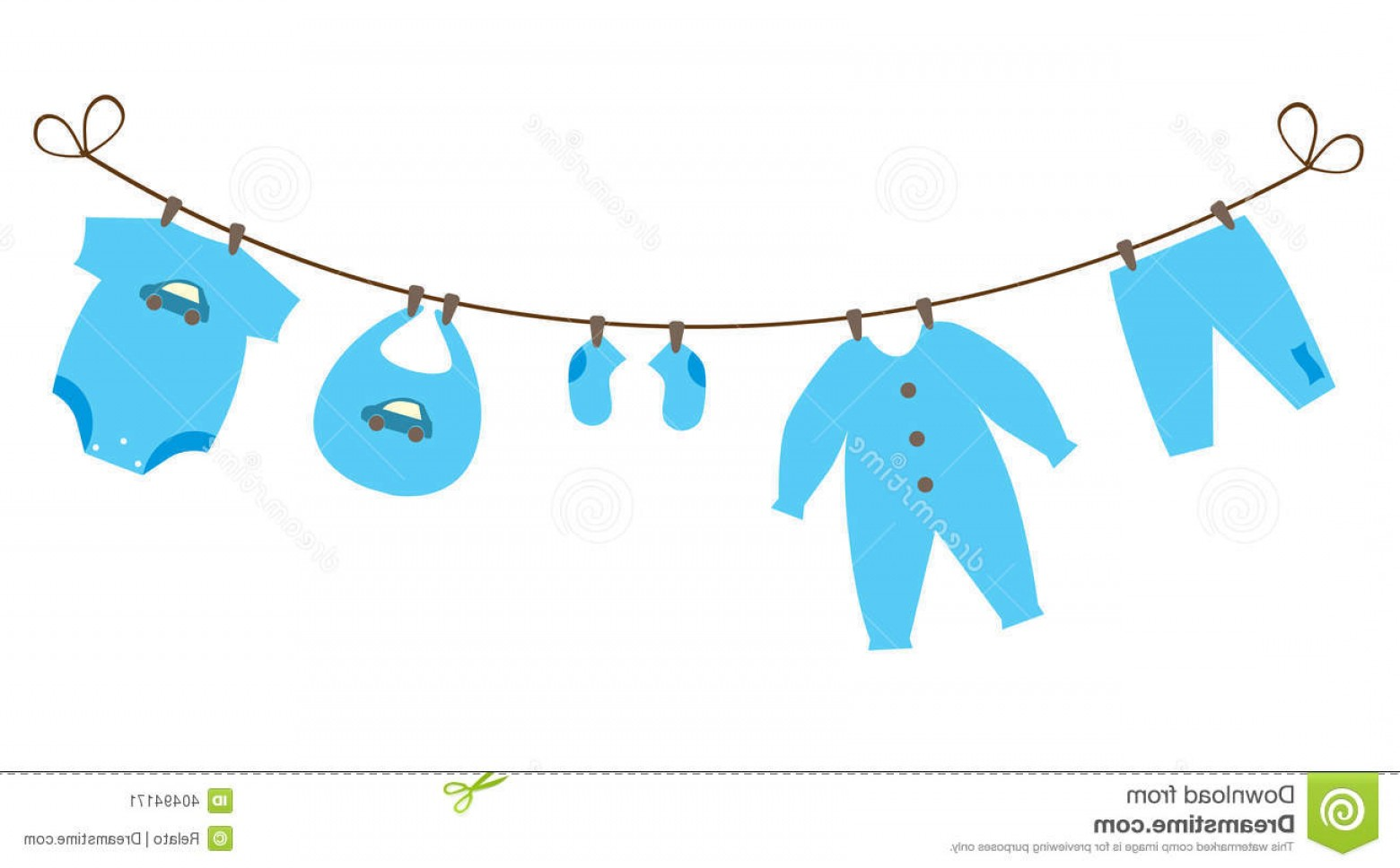 Baby Clothes On Clothesline Vector.
