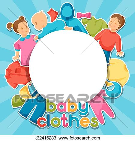 Baby clothes. Background with clothing items for newborns and children  Clipart.
