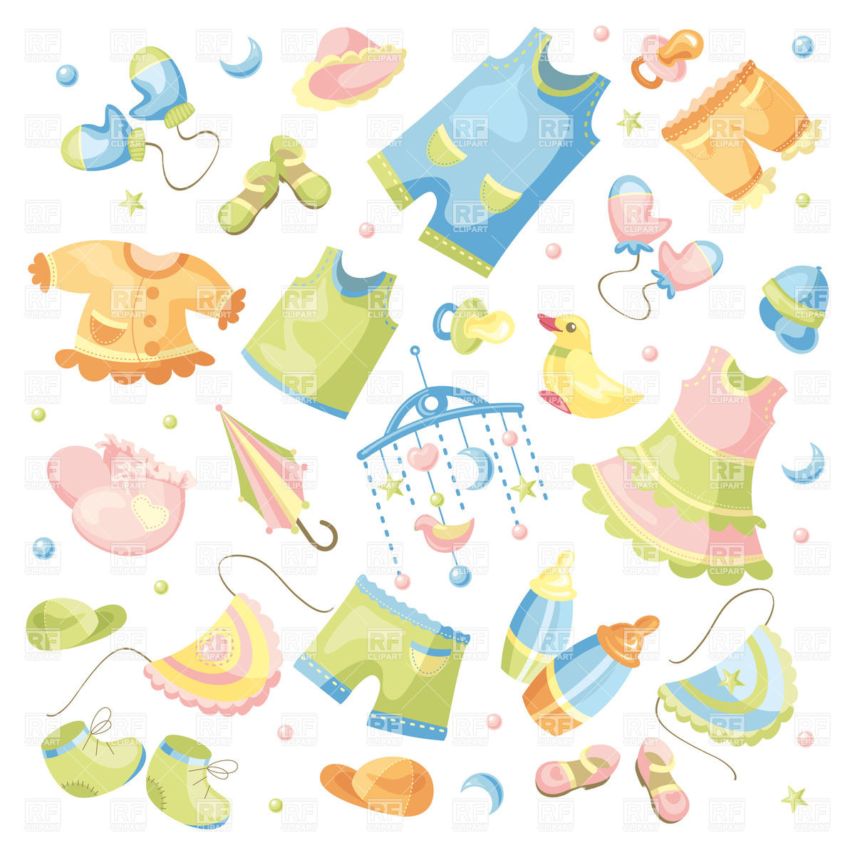 Baby clothing and accessories Stock Vector Image.
