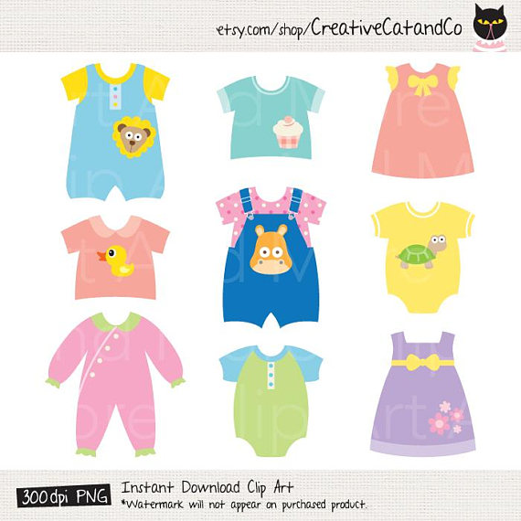 Baby Clothes Clipart Clip Art, Cute Baby Dress, Children Clothes.