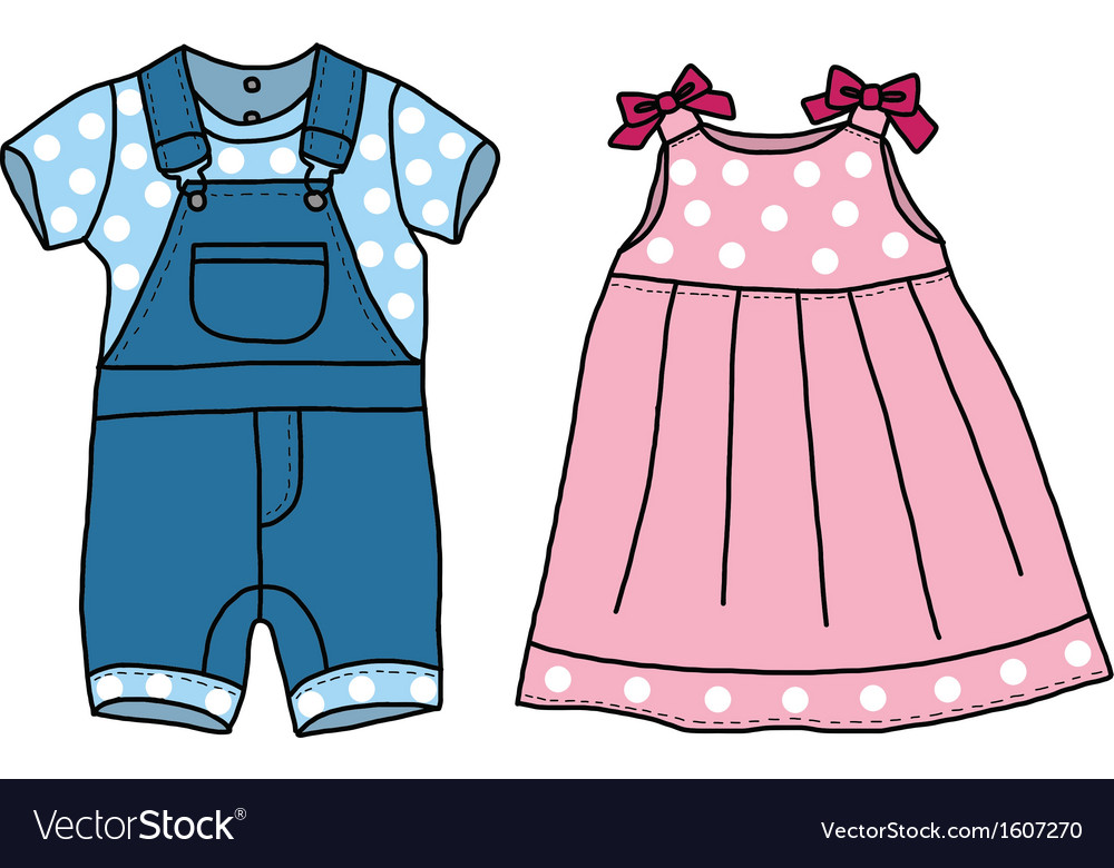 Pink and blue baby clothes.