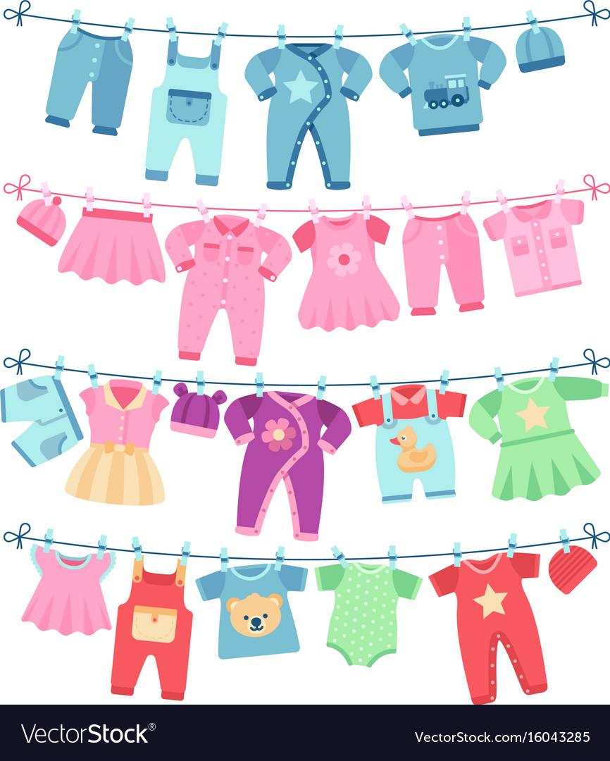 Baby clothes drying on clothesline.
