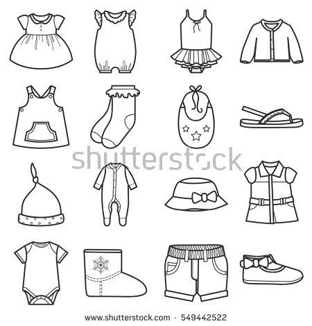 Baby clothes icons set.Clothing for girl. Isolated vector.