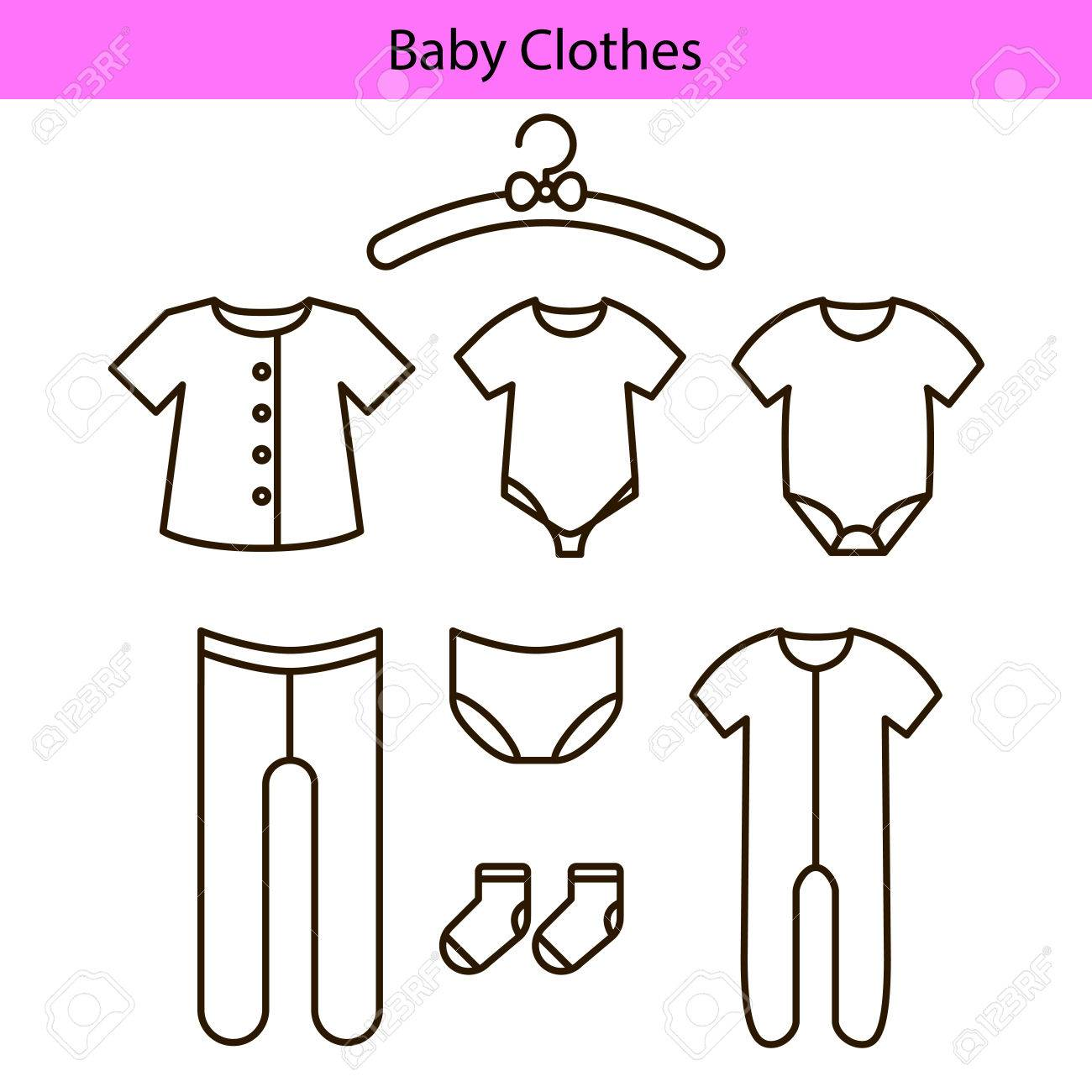 Baby clothes vector line icons..