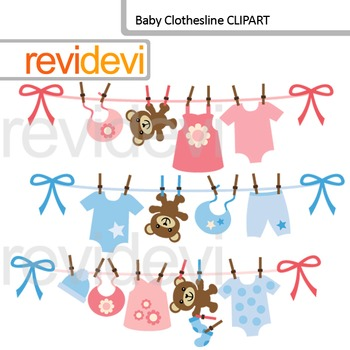 Clip art: Baby clothesline for baby boy and girl.