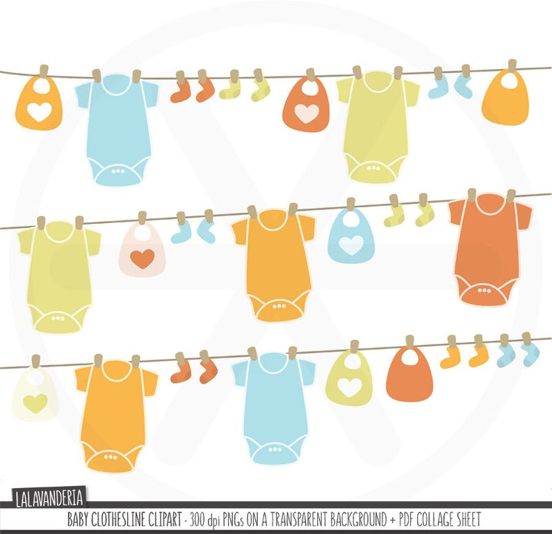 Baby Clothesline Clipart. Baby Clothes Clip Art. Nursery Images. Kids  Illustrations. Digital Baby Shower. Commercial Use. Instant Download.