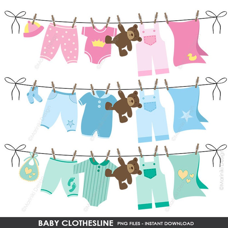 Baby Clothesline Clipart, Baby Shower Clipart, Baby Clip Art, Baby Clothes  Clip Art, Digital Clip Art INSTANT DOWNLOAD CLIPARTS C10.
