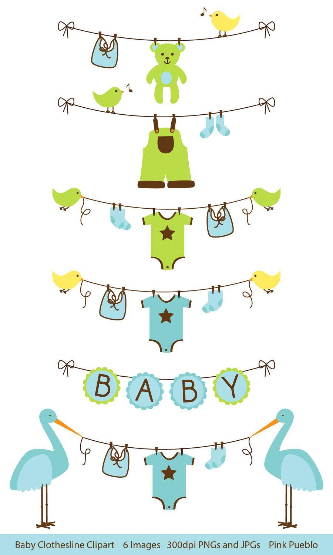 Baby Boy Clothesline Clipart Clip Art, Baby Shower Clip Art Clipart.