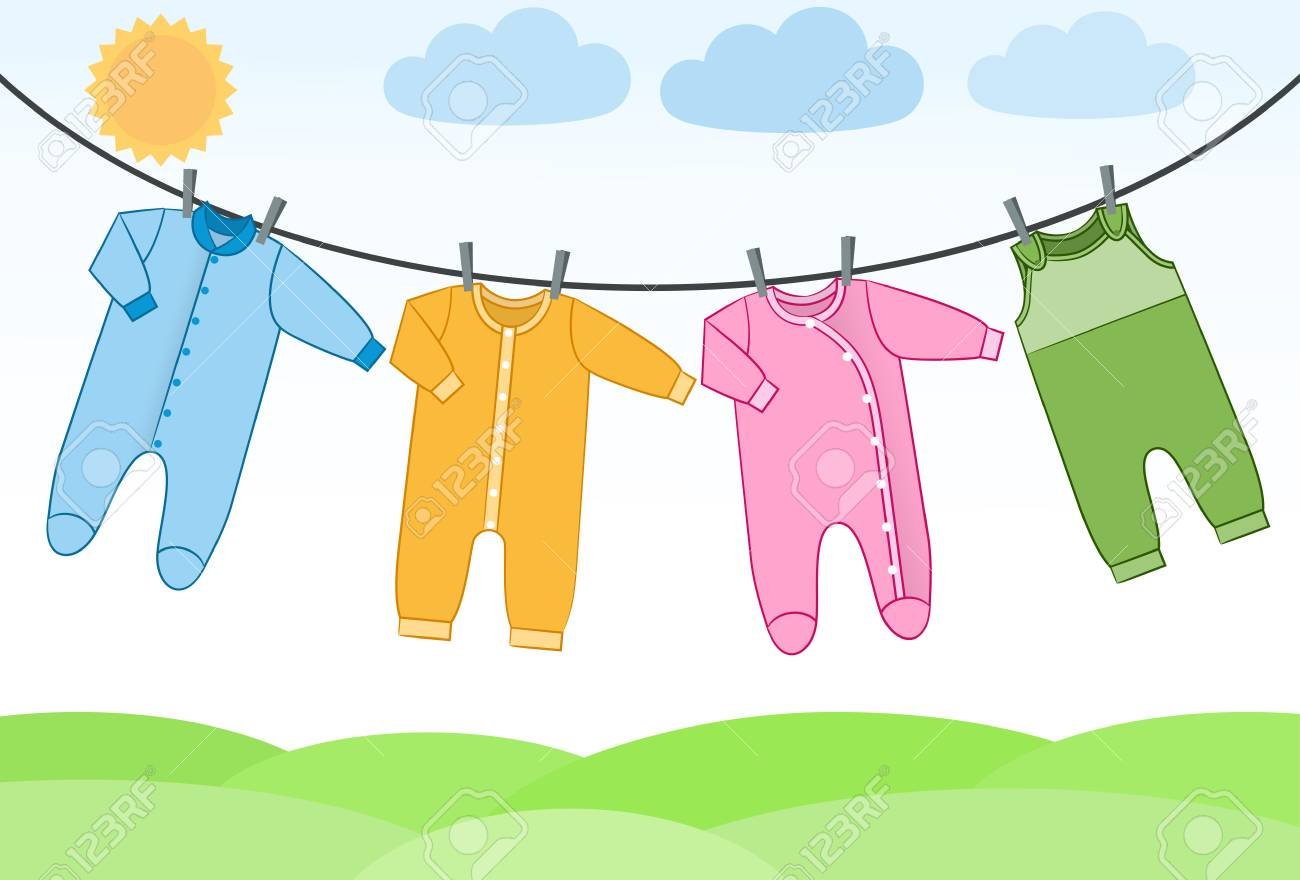 Baby bodysuits, rompers and overalls on clothesline. Infant clothes.