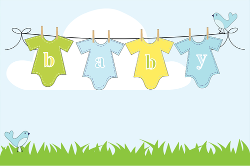 Baby clothes on a clothesline.