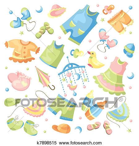 Set of baby clothing Clipart.