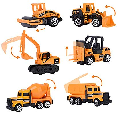 XADP 6 Pcs Play Vehicles Construction Vehicle Truck Cars Toys Set,Friction  Powered Push Engineering Vehicles Assorted Construction for Boys and Girls.