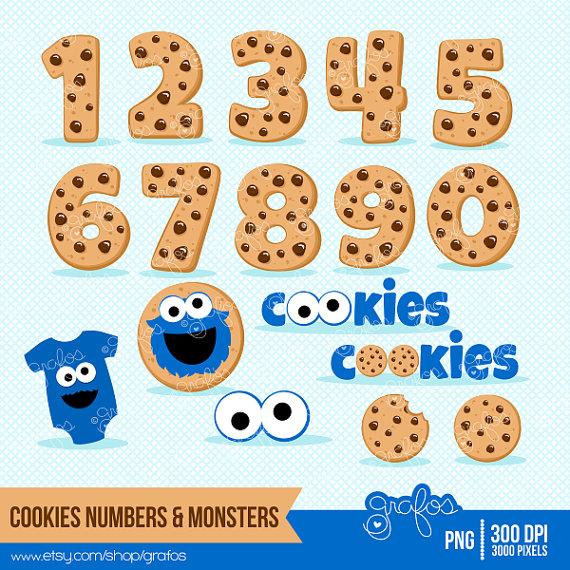 COOKIES & MONSTERS Digital Clipart , Cookie Numbers Clipart.