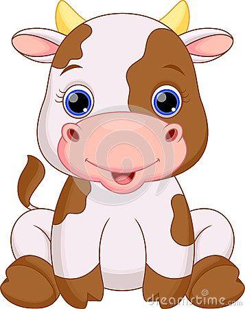 Cute baby cow cartoon.