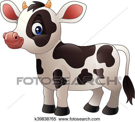 Cartoon baby cow Clipart.
