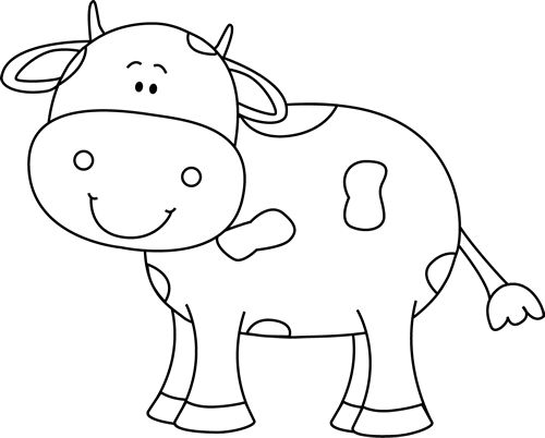 Cute Cow Clipart Black And White.