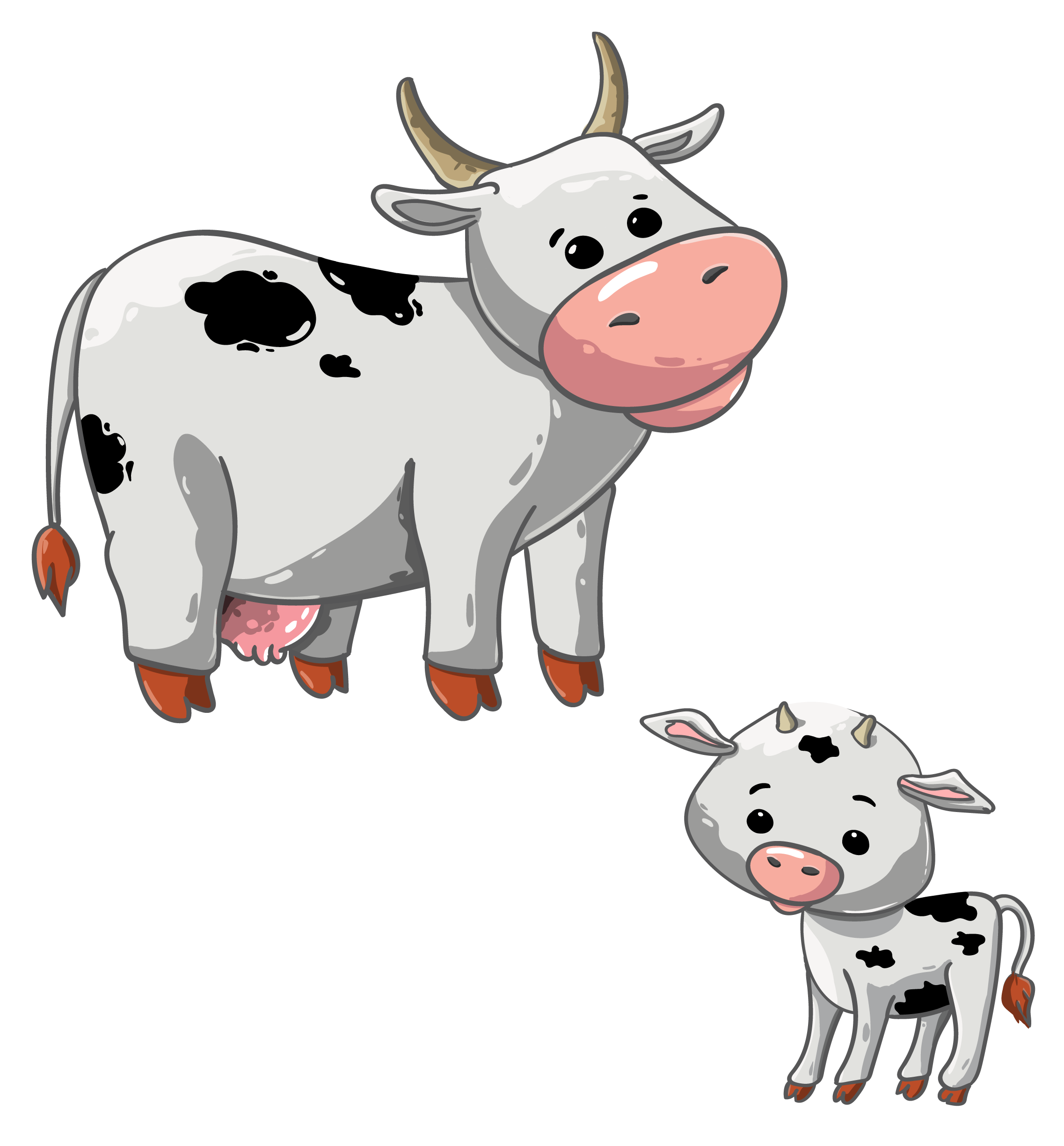 Cartoon cow and calf.