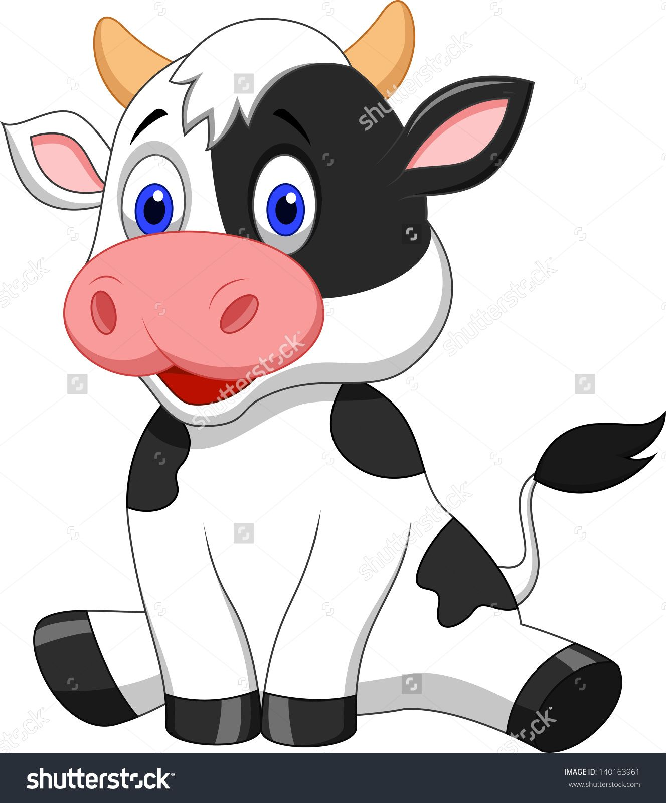 Cute Baby Cow Cartoon Stock Vector Illustration 140163961.