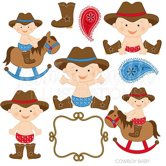 Cowboy Baby Boy Cute Digital Clipart, Cowboy Clip art.