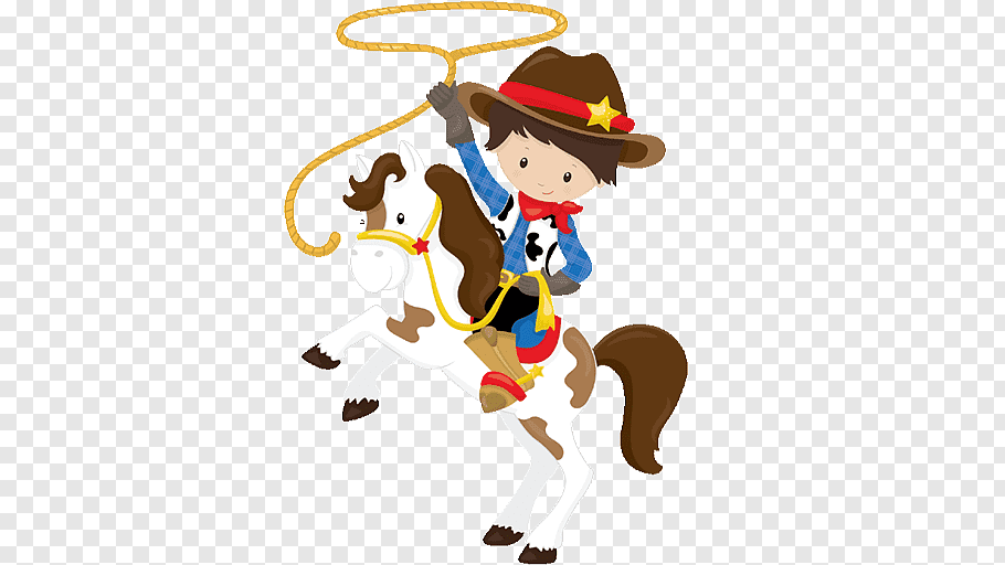 Cowboy riding white horse while holding brown lasso.