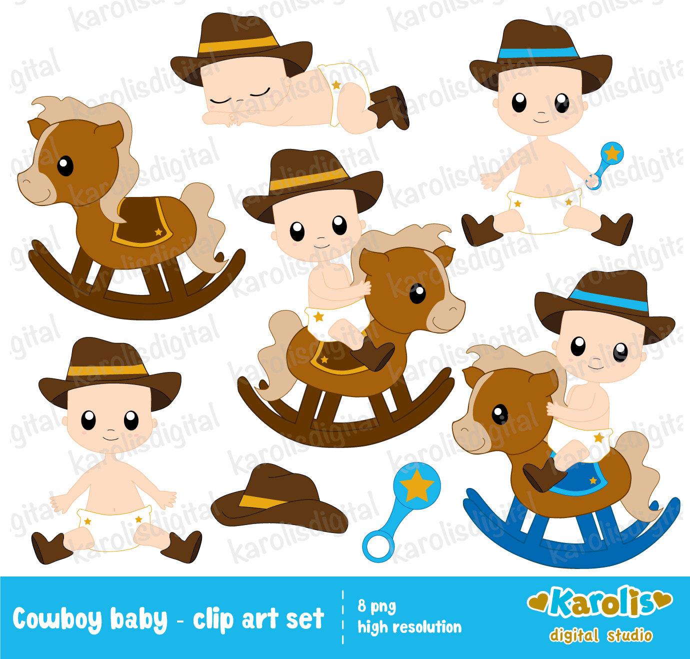 Cowboy Baby Boy Clip Art free image.
