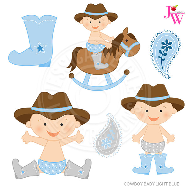 Light Blue Cowboy Baby Cute Digital Clipar #188983.