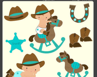 Cowboy baby clipart.