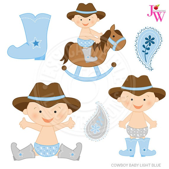 Light Blue Cowboy Baby Cute Digital Clipart, Cute Baby Cowboy Clip.