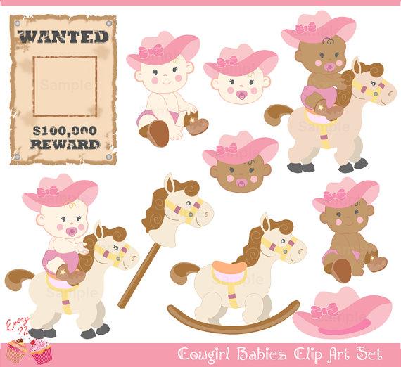 Cute Cowgirl Babies Clip Art Set.