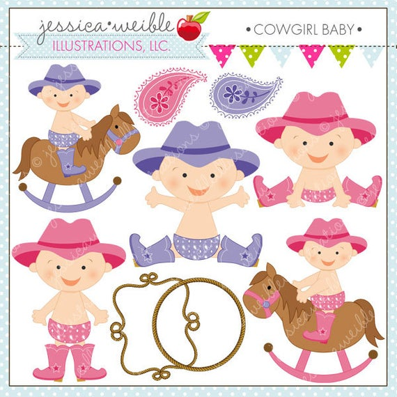 Cowgirl Baby Cute Digital Clipart for Commercial and Personal Use, Cowgirl  Clipart, Western Baby.