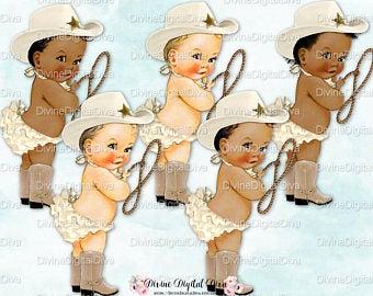 Baby cowboy clipart.