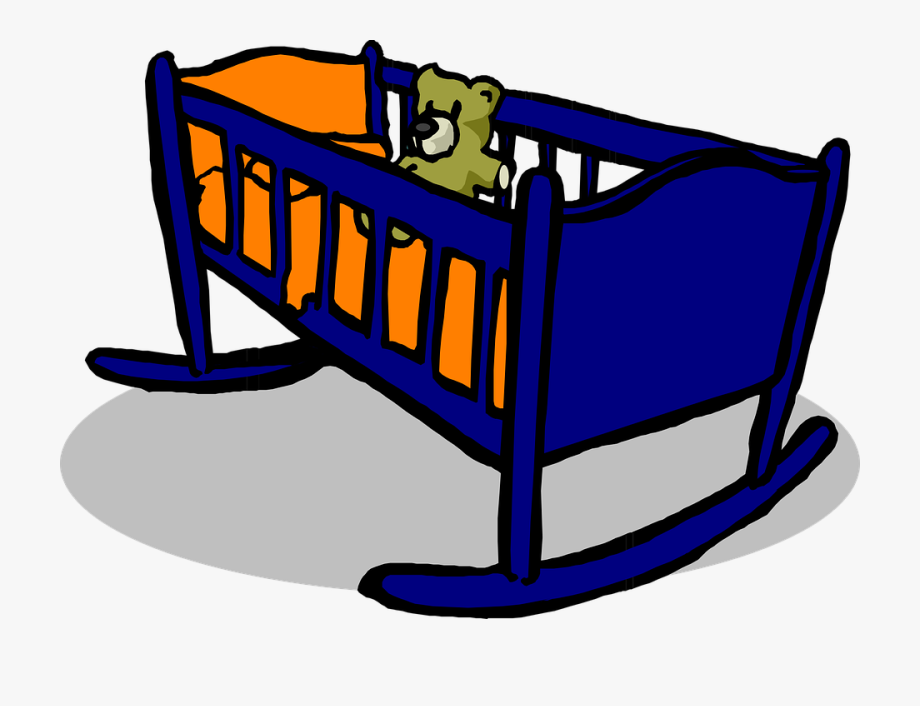 Crib Cradle Blue Baby Teddy Orange Pillow Shadow.