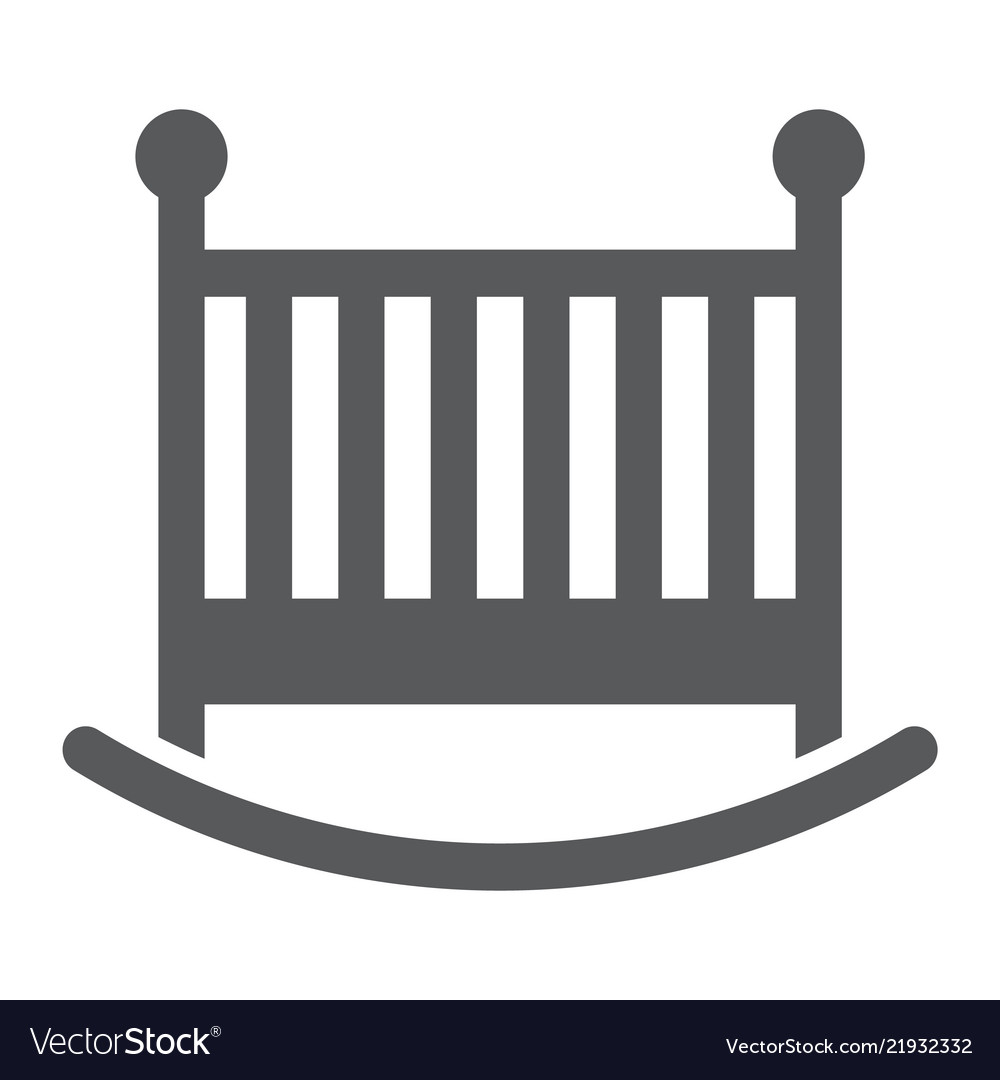 Baby crib glyph icon child and bed.