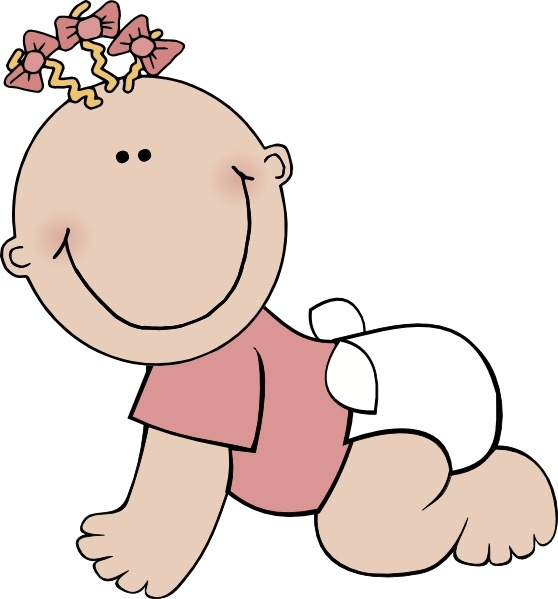 Baby Girl Crawling clip art Free vector in Open office drawing svg.