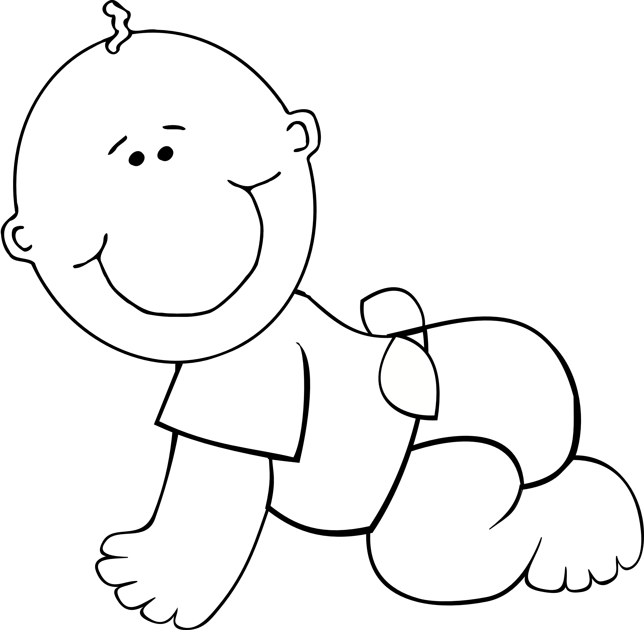 Crawling Baby Boy Outline Svg Clip Arts 600 X 592 Px.