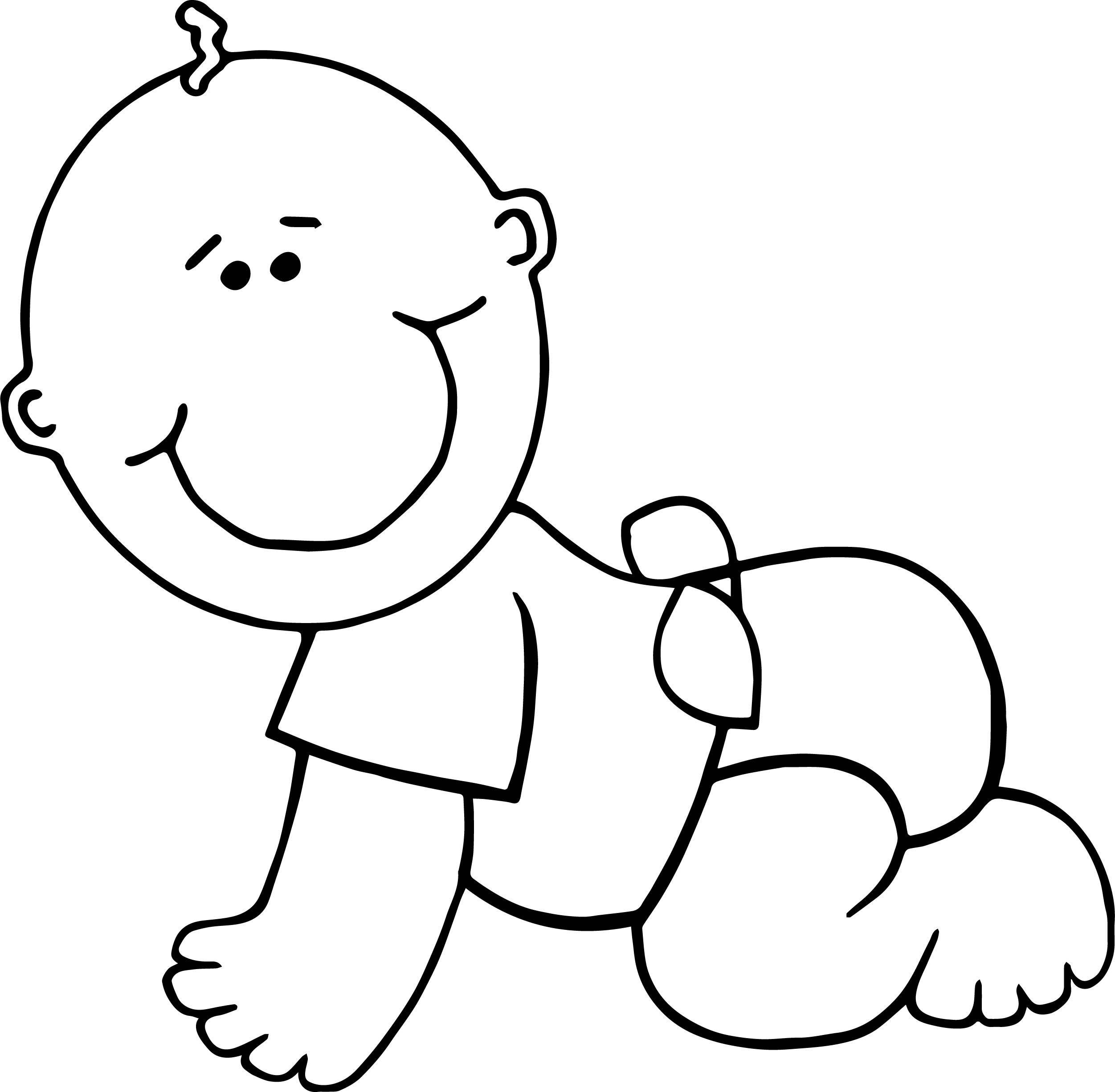 Crawl Boy Baby Coloring Page.
