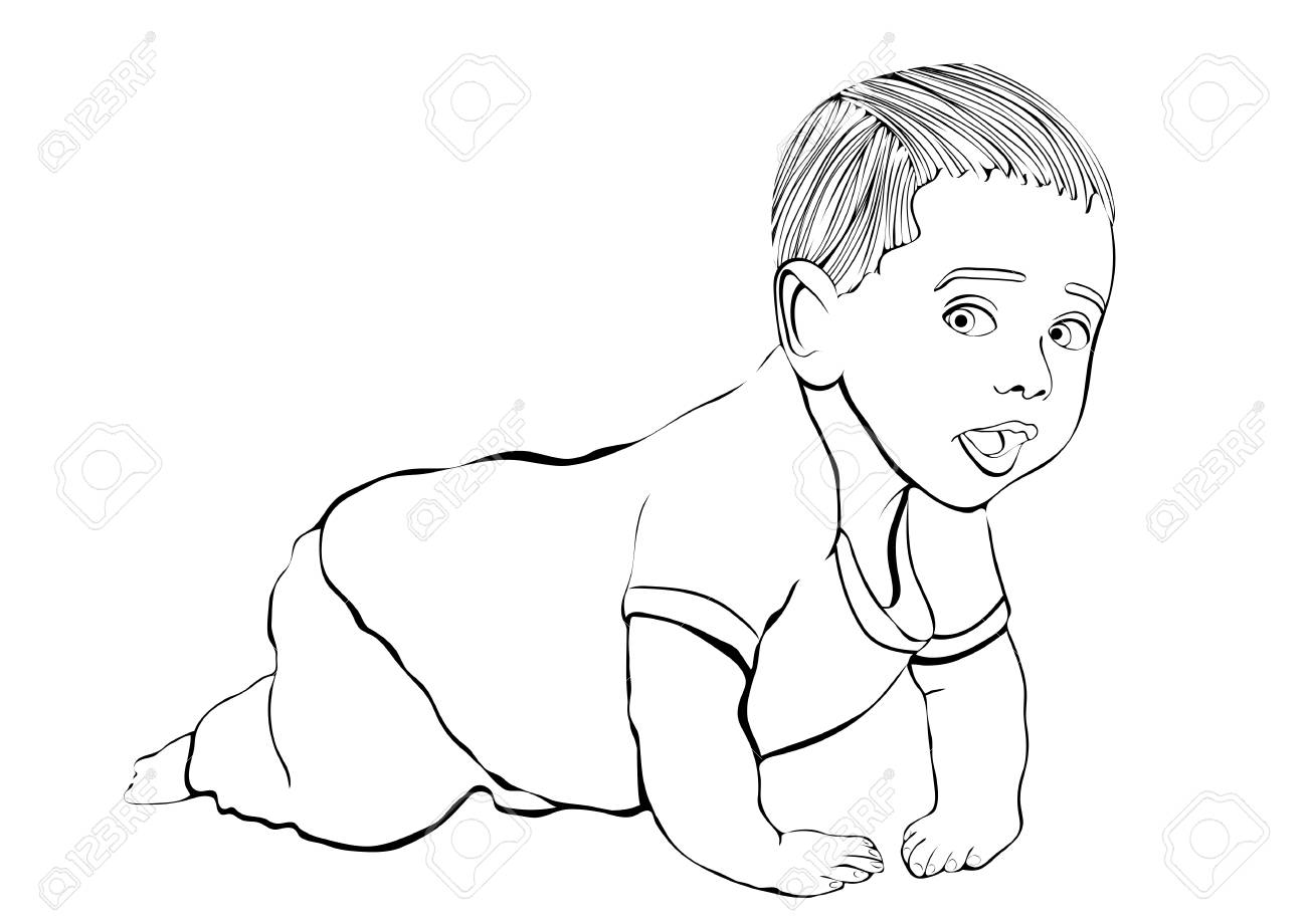 Crawling baby vector outline hand drawing, coloring, sketch.