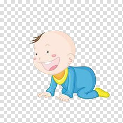 Infant Cartoon , Crawling cute baby transparent background.