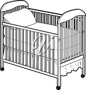 Clipart Illustration of a Baby Crib.