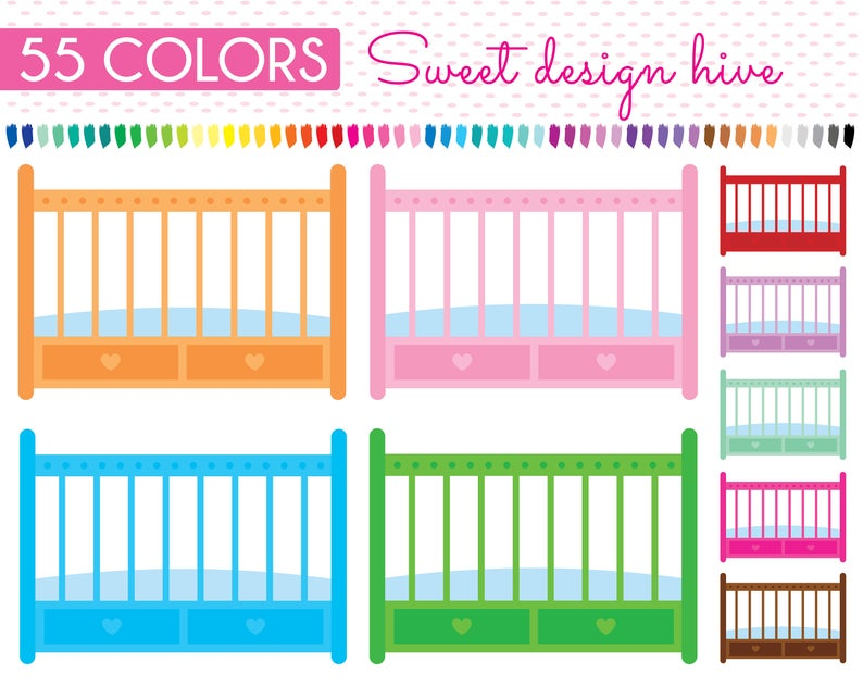 Baby Cribs clipart, Baby Crib Clip art, Baby Bed clipart, Baby Cribs Clip  art, Baby bed clip art, Baby cribs sticker, Commercial Use, PL0278.