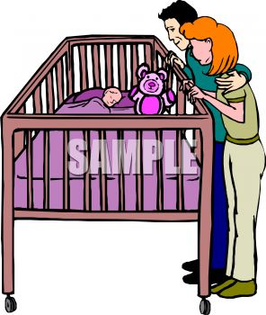 Clipart baby in crib.