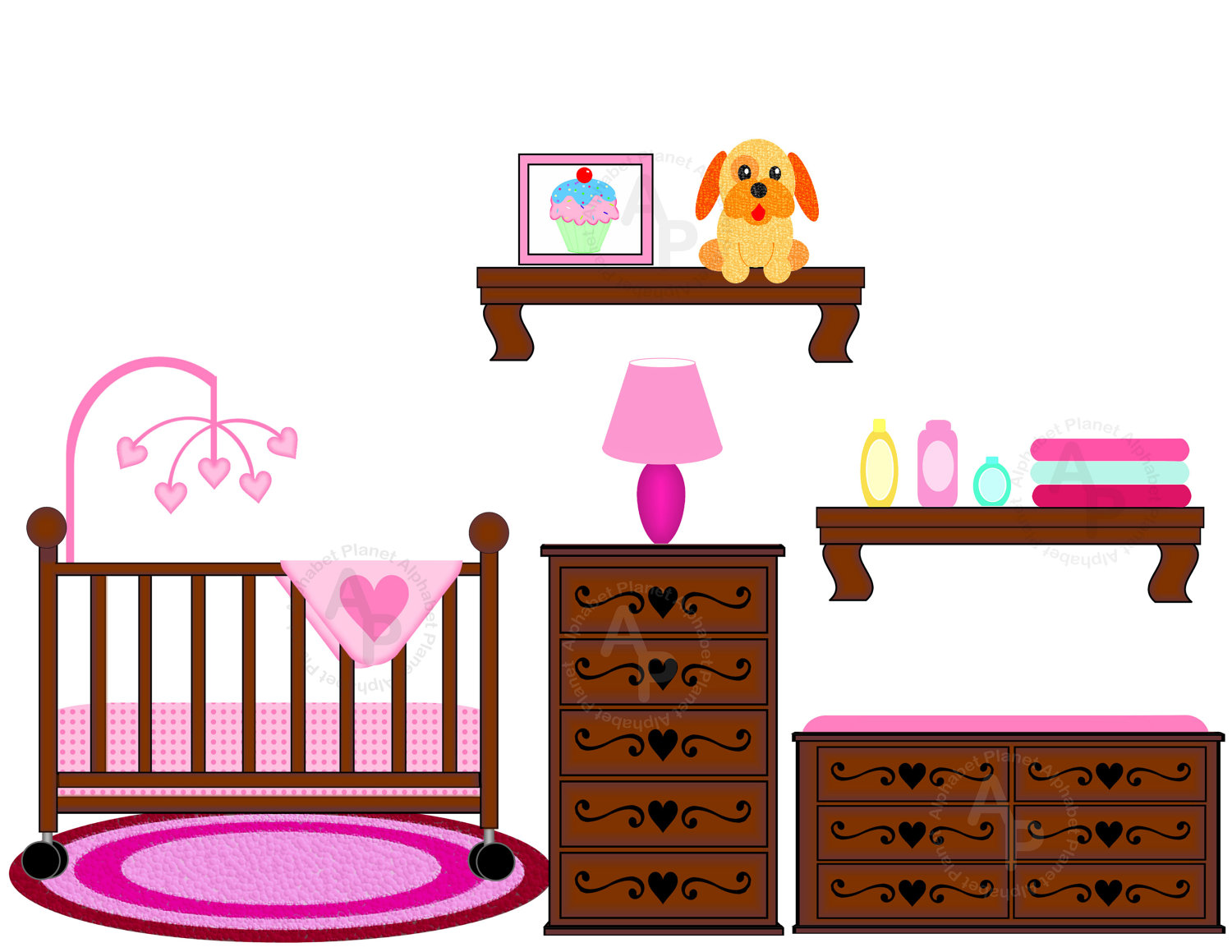 Baby crib clipart free.