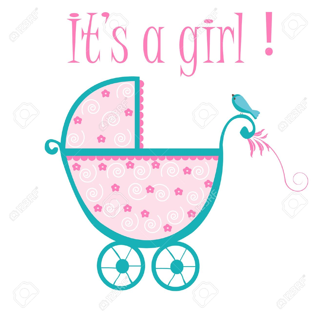 Baby crib card to welcome to new baby girl.