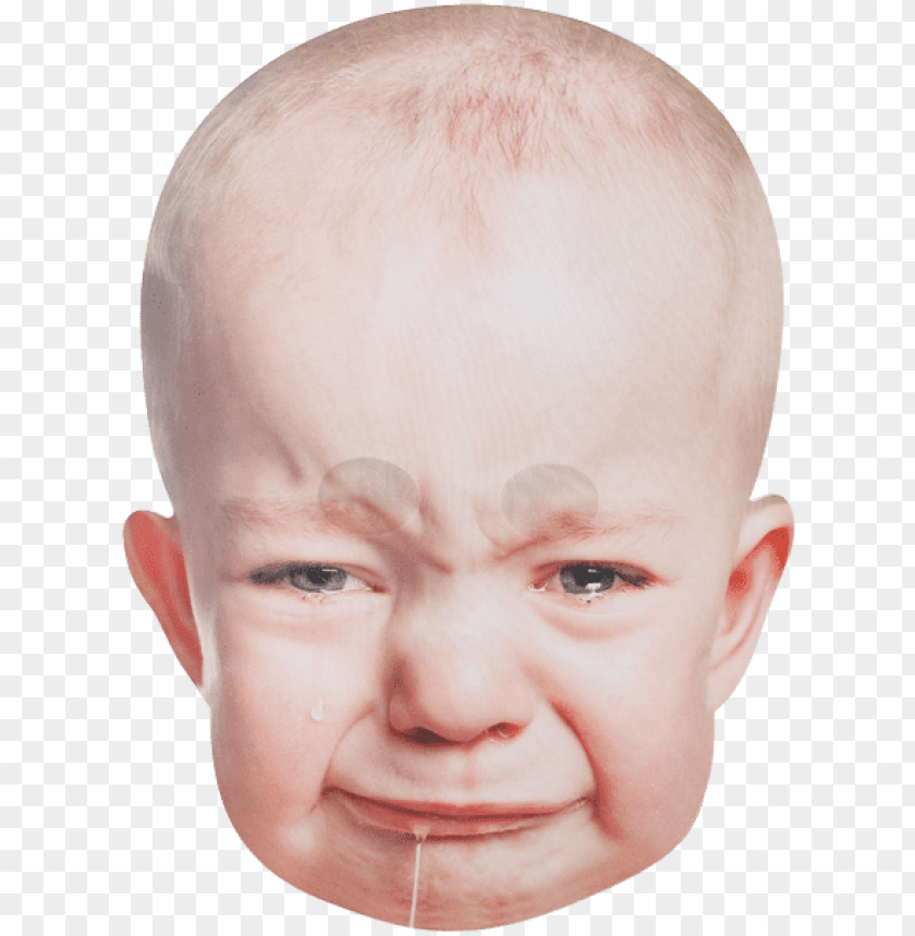 crying baby face PNG image with transparent background.